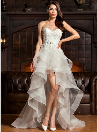 A-Line/Princess Sweetheart Asymmetrical Tulle Charmeuse Lace Wedding Dress With Beading Bow(s)