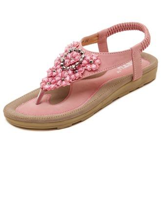 Femmes Similicuir Talon plat Sandales avec Rivet Une fleur chaussures