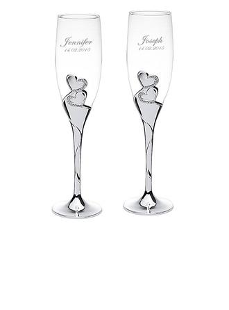 personnalisé Doubles Coeurs Verre/Aluminium Flûtes à champagne
