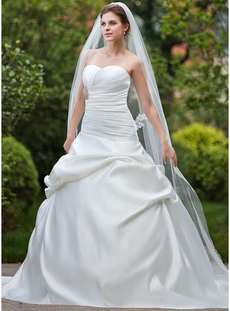 Ball-Gown Sweetheart Cathedral Train Satin Wedding Dress With Ruffle Beading