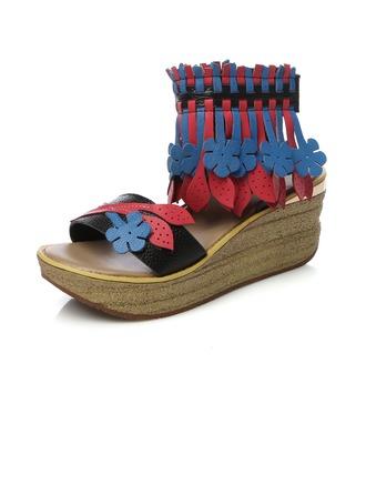Femmes Vrai cuir Talon compensé Sandales Escarpins avec Tassel chaussures