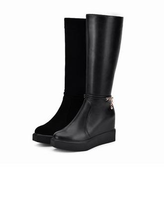 Femmes Similicuir Talon plat Compensée Bottes hautes avec Brodé Zip Chaîne chaussures