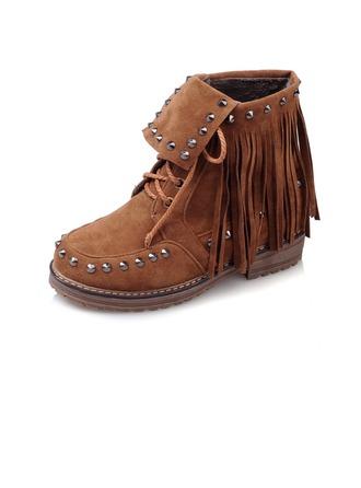 Femmes Similicuir Talon bas Plateforme Bout fermé Bottines avec Lanière tressé chaussures