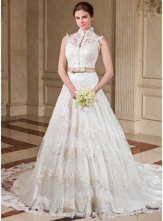 A-Line/Princess High Neck Chapel Train Organza Wedding Dress With Ruffle Lace Sash Beading Sequins Bow(s)