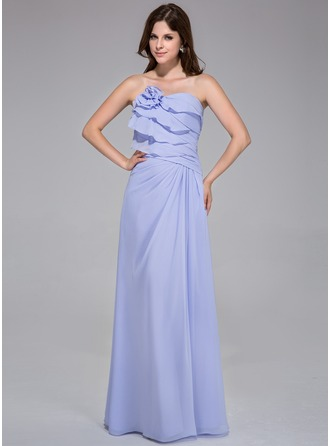 A-Line/Princess Strapless Floor-Length Chiffon Bridesmaid Dress With Flower(s) Cascading Ruffles