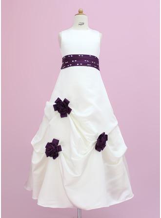 A-Line/Princess Floor-length Flower Girl Dress - Satin Sleeveless Scoop Neck With Sash/Beading/Flower(s)/Sequins/Pick Up Skirt