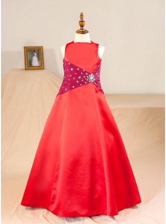 Corte A/Princesa Hasta el suelo Vestidos de Niña Florista - Satén Sin mangas Escote redondo con Rhinestone (Enagua no incluida)