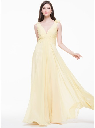 A-Line/Princess V-neck Floor-Length Chiffon Evening Dress With Ruffle Beading Flower(s)
