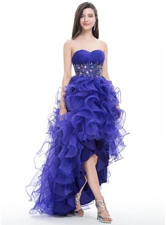 Платье для Балла Без лямок асимметричный Органза Платье Для Выпускного Вечера с Рябь развальцовка блестки