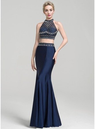 Trumpet/Mermaid Scoop Neck Floor-Length Jersey Evening Dress With Beading Sequins
