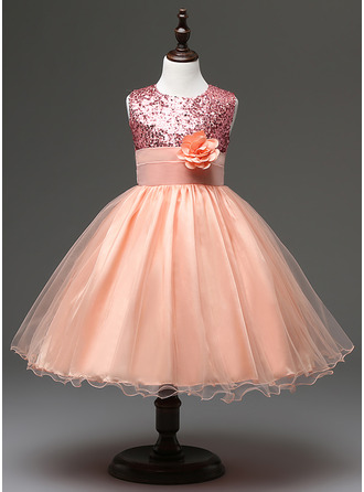 A-Line/Princess Cotton Blends Flower Girl Dresses/First Communion Dresses With Sequins
