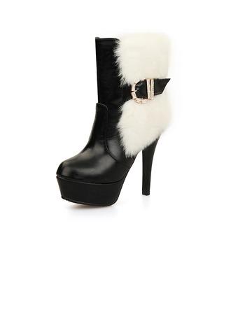 Femmes Similicuir Talon stiletto Escarpins Plateforme Bout fermé Bottes Bottines avec Strass Boucle Fourrure chaussures