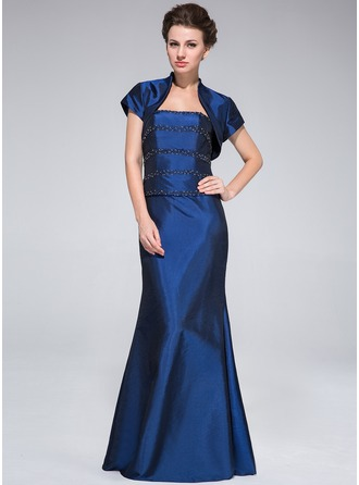 Trumpet/Mermaid Strapless Floor-Length Taffeta Mother of the Bride Dress With Beading