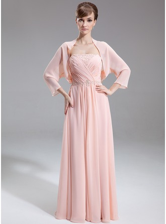 A-Line/Princess Strapless Floor-Length Chiffon Mother of the Bride Dress With Ruffle Beading