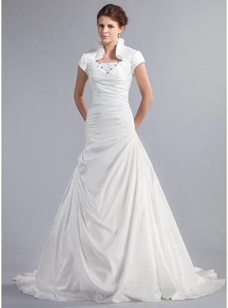 A-Line/Princess High Neck Chapel Train Taffeta Wedding Dress With Beading Cascading Ruffles