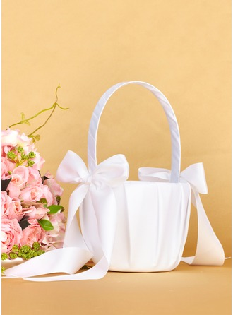 Satin With Bow Flower Basket