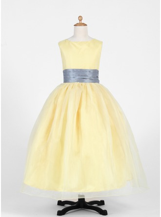 A-Line/Princess Scoop Neck Ankle-Length Organza Flower Girl Dress With Sash