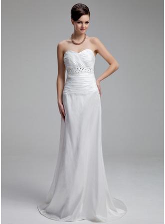 Sheath/Column Sweetheart Court Train Taffeta Wedding Dress With Ruffle Beading