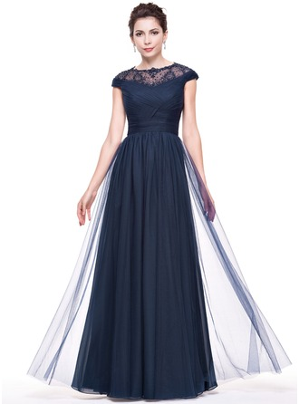 A-Line/Princess Scoop Neck Floor-Length Tulle Lace Evening Dress With Ruffle Beading Sequins