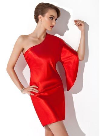 Sheath/Column One-Shoulder Short/Mini Charmeuse Cocktail Dress