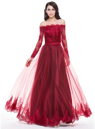 A-Line/Princess Off-the-Shoulder Floor-Length Tulle Charmeuse Evening Dress With Appliques Lace