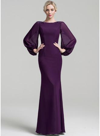 Trompete/Meerjungfrau-Linie U-Ausschnitt Bodenlang Chiffon Kleid für die Brautmutter mit Perlstickerei Pailletten