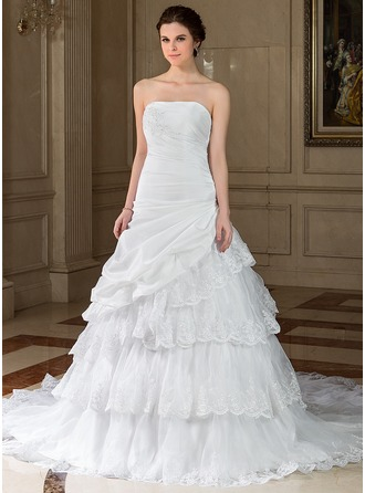 A-Line/Princess Strapless Chapel Train Taffeta Organza Wedding Dress With Lace Beading Sequins Cascading Ruffles
