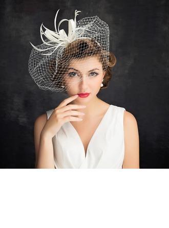 Dames Romantique Batiste/Feather/Tulle avec Tulle Chapeaux de type fascinator