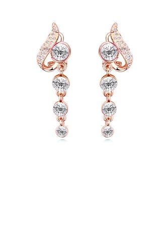 Beau Alliage Cristal avec Plaqué or Filles Boucles d'oreille de mode