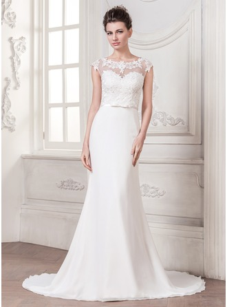 Trumpet/Mermaid Scoop Neck Court Train Chiffon Tulle Charmeuse Wedding Dress With Appliques Lace Bow(s)
