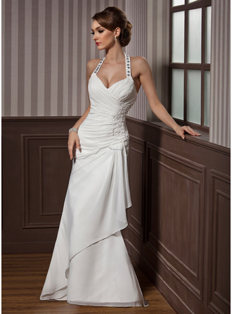 Trumpet/Mermaid Halter Floor-Length Chiffon Satin Wedding Dress With Beading Appliques Lace Sequins Cascading Ruffles