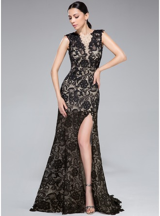 Trumpet/Mermaid Scoop Neck Sweep Train Tulle Lace Evening Dress With Beading Split Front