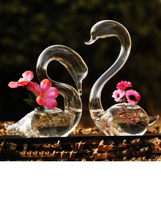 Cygne élégant Verre Vase (Lot de 2)