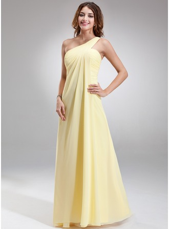 Chiffon Floor-length One¨Cshoulder Empire Bridesmaid Dress