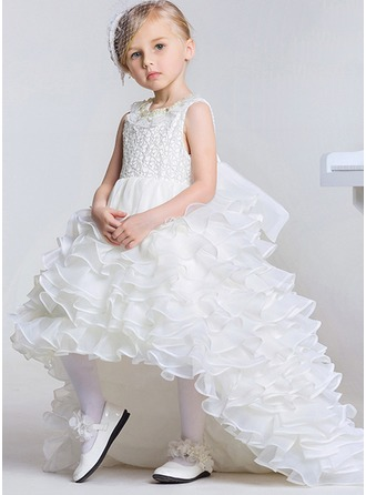 Ball Gown Asymmetrical/Sweep Train Flower Girl Dress - Sleeveless Scoop Neck With Beading/Bow(s)/Rhinestone