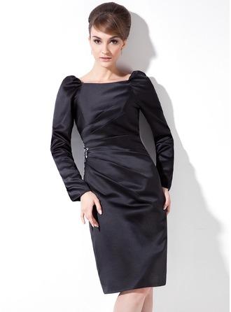 Sheath/Column Square Neckline Knee-Length Satin Cocktail Dress With Ruffle Beading