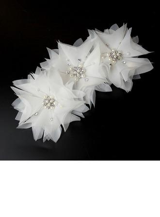 Unique Strass/Alliage/Perles d'imitation/Fil net Des peignes et barrettes/Fleurs et plumes