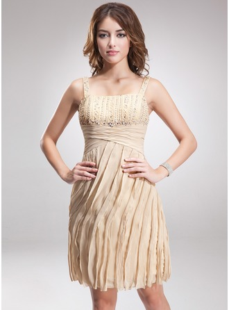 Sheath/Column Knee-Length Chiffon Cocktail Dress With Ruffle Beading Sequins
