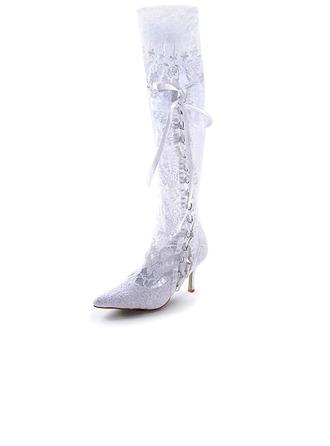 Femmes Satin Talon stiletto Bottes Bout fermé avec Cravate ruban Couture dentelle