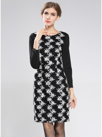 Polyester/Cotton/Woolen With Print Above Knee Dress