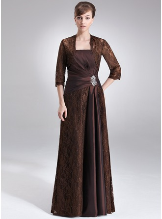 Sheath/Column Strapless Floor-Length Taffeta Lace Mother of the Bride Dress With Ruffle Beading