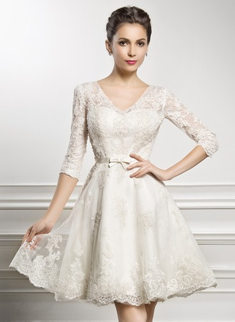 A-Line/Princess V-neck Knee-Length Satin Lace Wedding Dress With Bow(s)