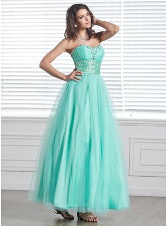 Vestidos princesa/ Formato A Coração Longuete Tule Vestido de Férias com Bordado