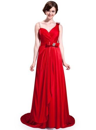 A-Line/Princess Sweetheart Sweep Train Charmeuse Bridesmaid Dress With Ruffle Beading Bow(s)