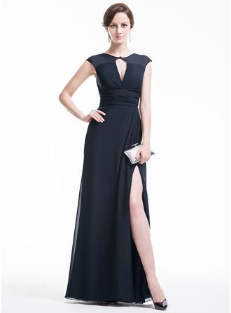Vestidos princesa/ Formato A Decote redondo Longos De chiffon Vestido de festa com Pregueado Frente aberta