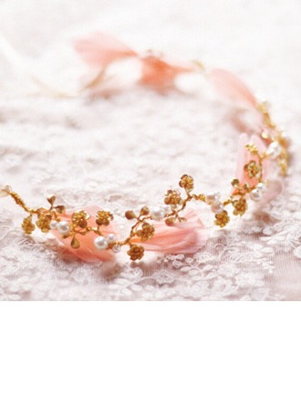 Gorgeous Imitation Pearls/Feather/Copper Headbands