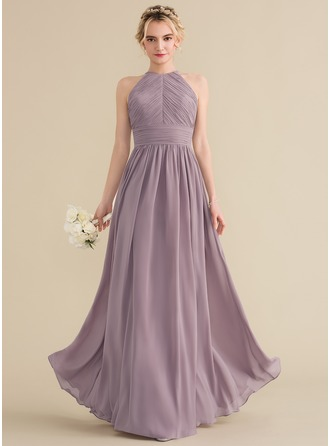 A-لاين أميرة عنق مدور الطول الأرضي الشيفون فستان وصيفة الشرف مع كشكش