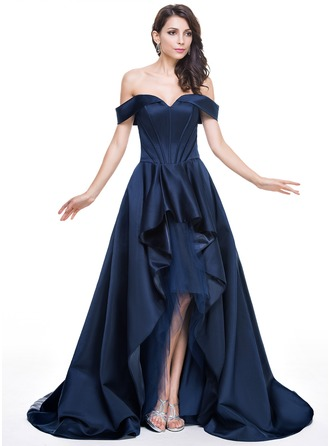 A-Line/Princess Off-the-Shoulder Asymmetrical Satin Tulle Evening Dress With Cascading Ruffles