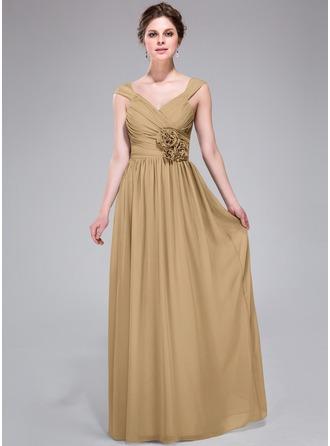 A-Line/Princess V-neck Floor-Length Chiffon Bridesmaid Dress With Ruffle Flower(s)