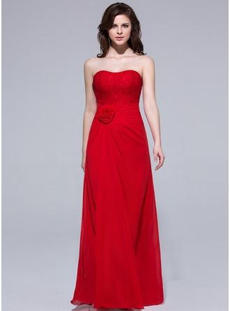 Sheath/Column Sweetheart Floor-Length Chiffon Bridesmaid Dress With Ruffle Flower(s)